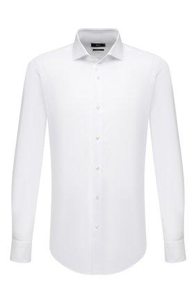 Мужская хлопковая сорочка BOSS белого цвета, арт. 50450603 | Фото 1 (Случай: Формальный; Материал внешний: Хлопок; Стили: Классический; Манжеты: На пуговицах; Рукава: Длинные; Длина (для топов): Стандартные; Рубашки М: Slim Fit; Воротник: Акула; Принт: Однотонные)
