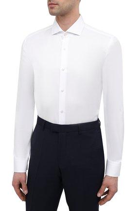 Мужская хлопковая сорочка BOSS белого цвета, арт. 50450603   Фото 3