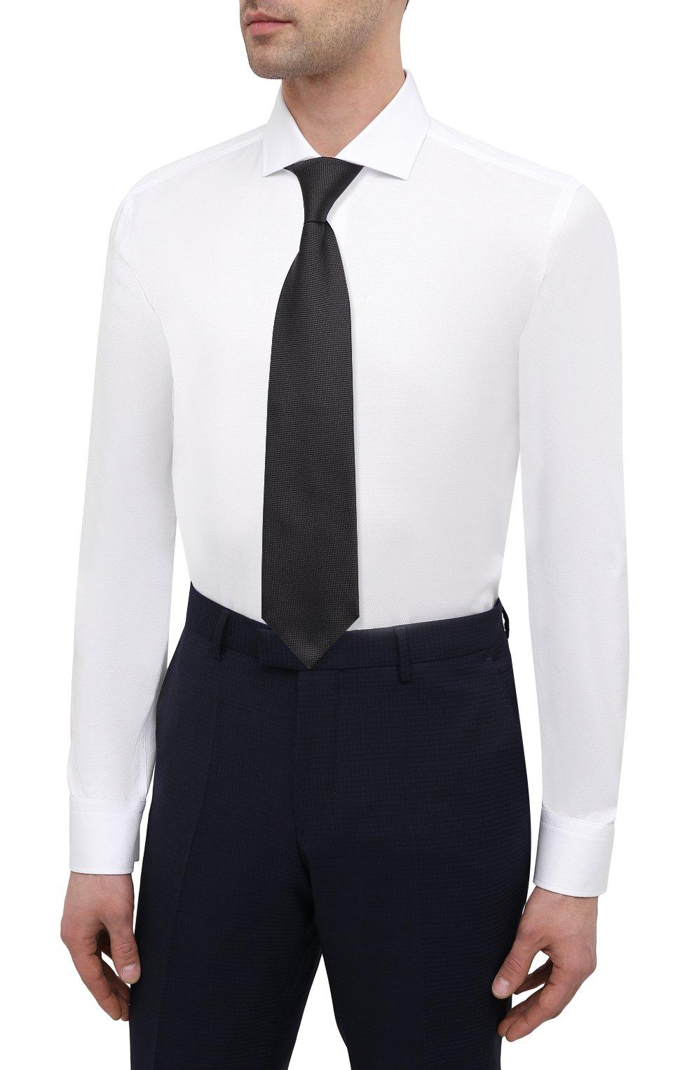 Мужская хлопковая сорочка BOSS белого цвета, арт. 50450603   Фото 4