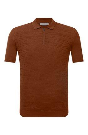 Мужское поло из шелка и хлопка CORNELIANI коричневого цвета, арт. 87M552-1125127/00   Фото 1