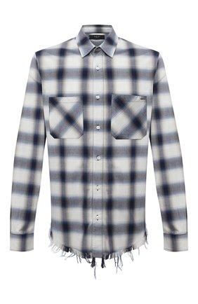 Мужская хлопковая рубашка AMIRI синего цвета, арт. MSL006-410 | Фото 1 (Случай: Повседневный; Рукава: Длинные; Материал внешний: Хлопок; Длина (для топов): Стандартные; Воротник: Кент; Стили: Гранж; Принт: Клетка; Манжеты: На пуговицах)