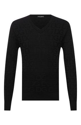 Мужской шелковый пуловер DOLCE & GABBANA черного цвета, арт. GXE25T/JAS0L | Фото 1