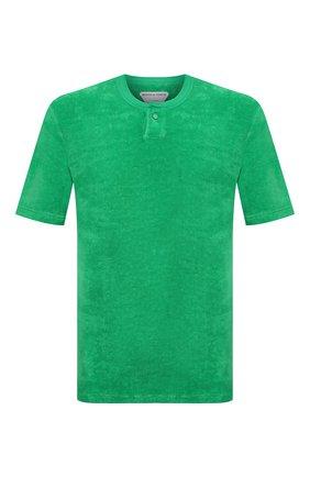Мужская хлопковая футболка BOTTEGA VENETA зеленого цвета, арт. 656849/V0UE0 | Фото 1 (Принт: Без принта; Стили: Минимализм; Длина (для топов): Стандартные; Материал внешний: Хлопок; Рукава: Короткие)