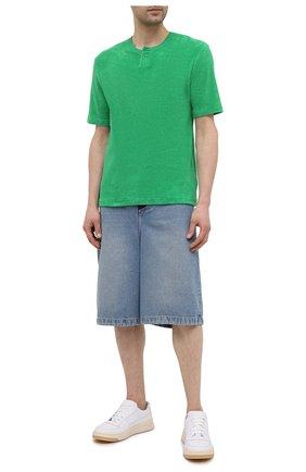 Мужская хлопковая футболка BOTTEGA VENETA зеленого цвета, арт. 656849/V0UE0 | Фото 2 (Принт: Без принта; Стили: Минимализм; Длина (для топов): Стандартные; Материал внешний: Хлопок; Рукава: Короткие)