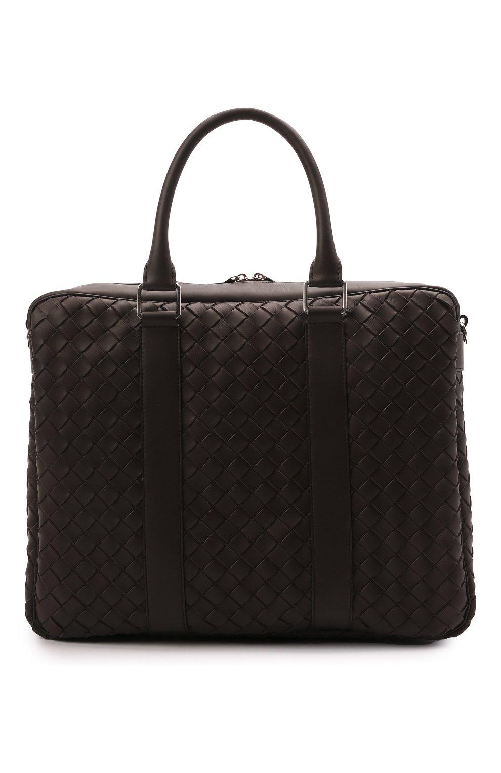Мужская кожаная сумка для ноутбука BOTTEGA VENETA темно-коричневого цвета, арт. 650372/V0E51 | Фото 1