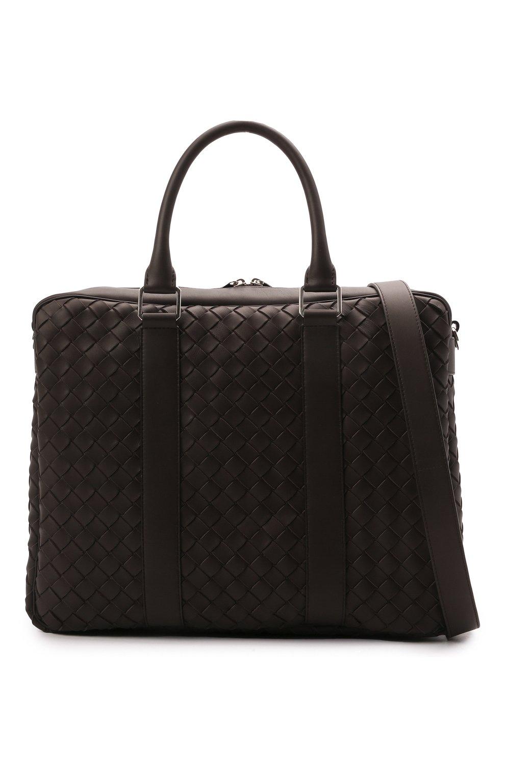Мужская кожаная сумка для ноутбука BOTTEGA VENETA темно-коричневого цвета, арт. 650372/V0E51 | Фото 5