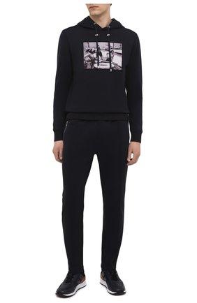 Мужские хлопковые брюки LIMITATO темно-синего цвета, арт. TYPE/TRACK PANTS | Фото 2 (Длина (брюки, джинсы): Стандартные; Случай: Повседневный; Материал внешний: Хлопок; Стили: Кэжуэл)