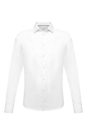 Мужская хлопковая сорочка ETON белого цвета, арт. 1000 02558 | Фото 1 (Рубашки М: Slim Fit; Рукава: Длинные; Случай: Формальный; Стили: Классический; Длина (для топов): Стандартные; Манжеты: На пуговицах; Материал внешний: Хлопок; Принт: Однотонные; Воротник: Кент)