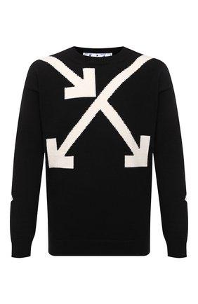 Мужской хлопковый свитер OFF-WHITE черного цвета, арт. 0MHA036S21KNI002 | Фото 1 (Мужское Кросс-КТ: Свитер-одежда; Материал внешний: Хлопок; Длина (для топов): Стандартные; Принт: С принтом; Стили: Гранж; Рукава: Длинные)