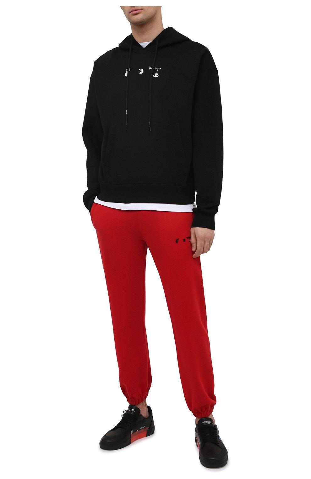 Мужской хлопковое худи OFF-WHITE черного цвета, арт. 0MBB037S21FLE001 | Фото 2 (Рукава: Длинные; Длина (для топов): Стандартные; Стили: Гранж; Принт: С принтом; Мужское Кросс-КТ: Худи-одежда; Материал внешний: Хлопок)