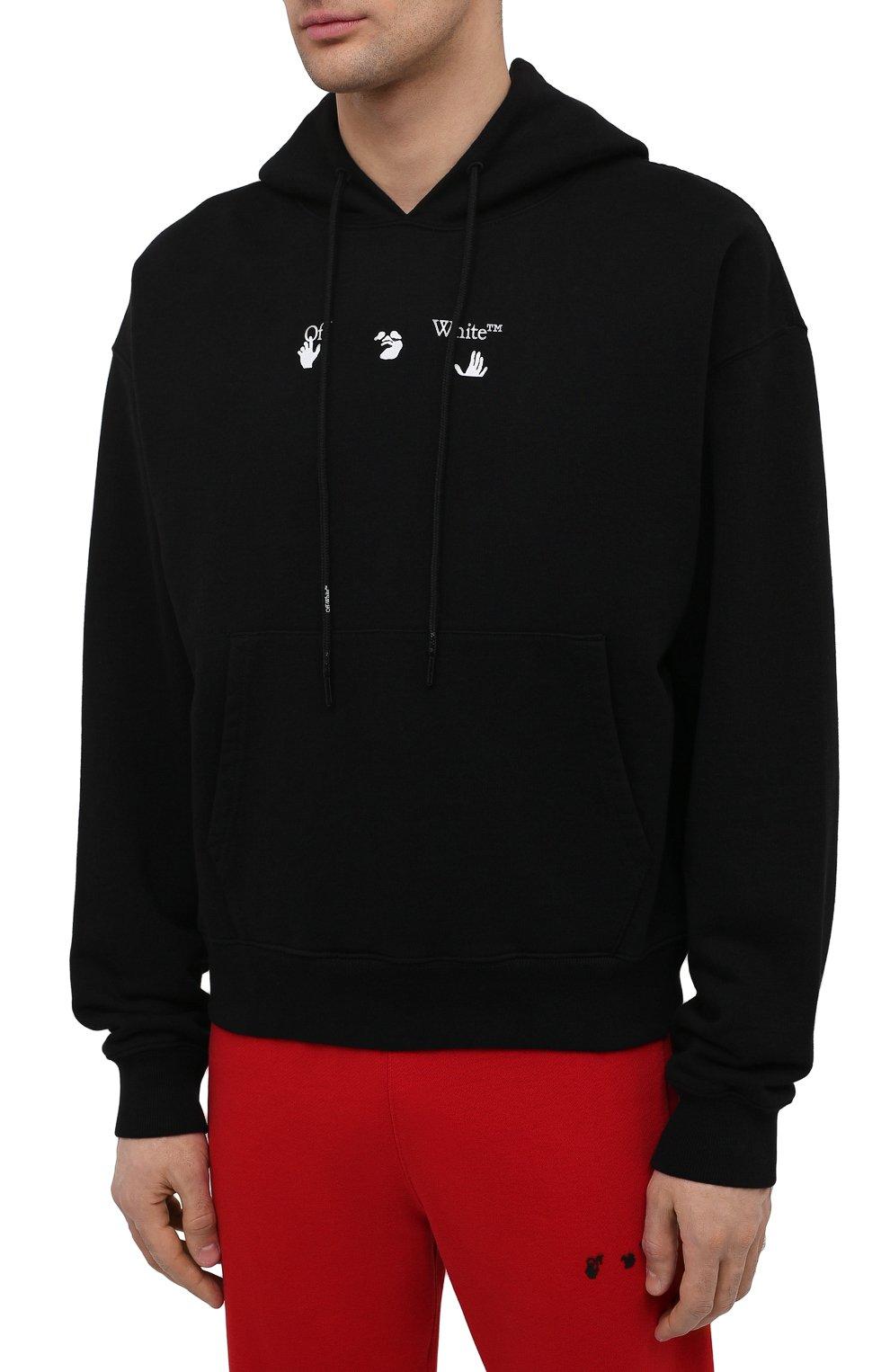 Мужской хлопковое худи OFF-WHITE черного цвета, арт. 0MBB037S21FLE001 | Фото 3 (Рукава: Длинные; Длина (для топов): Стандартные; Стили: Гранж; Принт: С принтом; Мужское Кросс-КТ: Худи-одежда; Материал внешний: Хлопок)