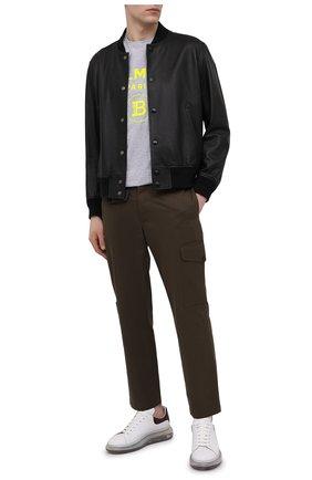 Мужская хлопковая футболка BALMAIN серого цвета, арт. VH0EF000/B092   Фото 2