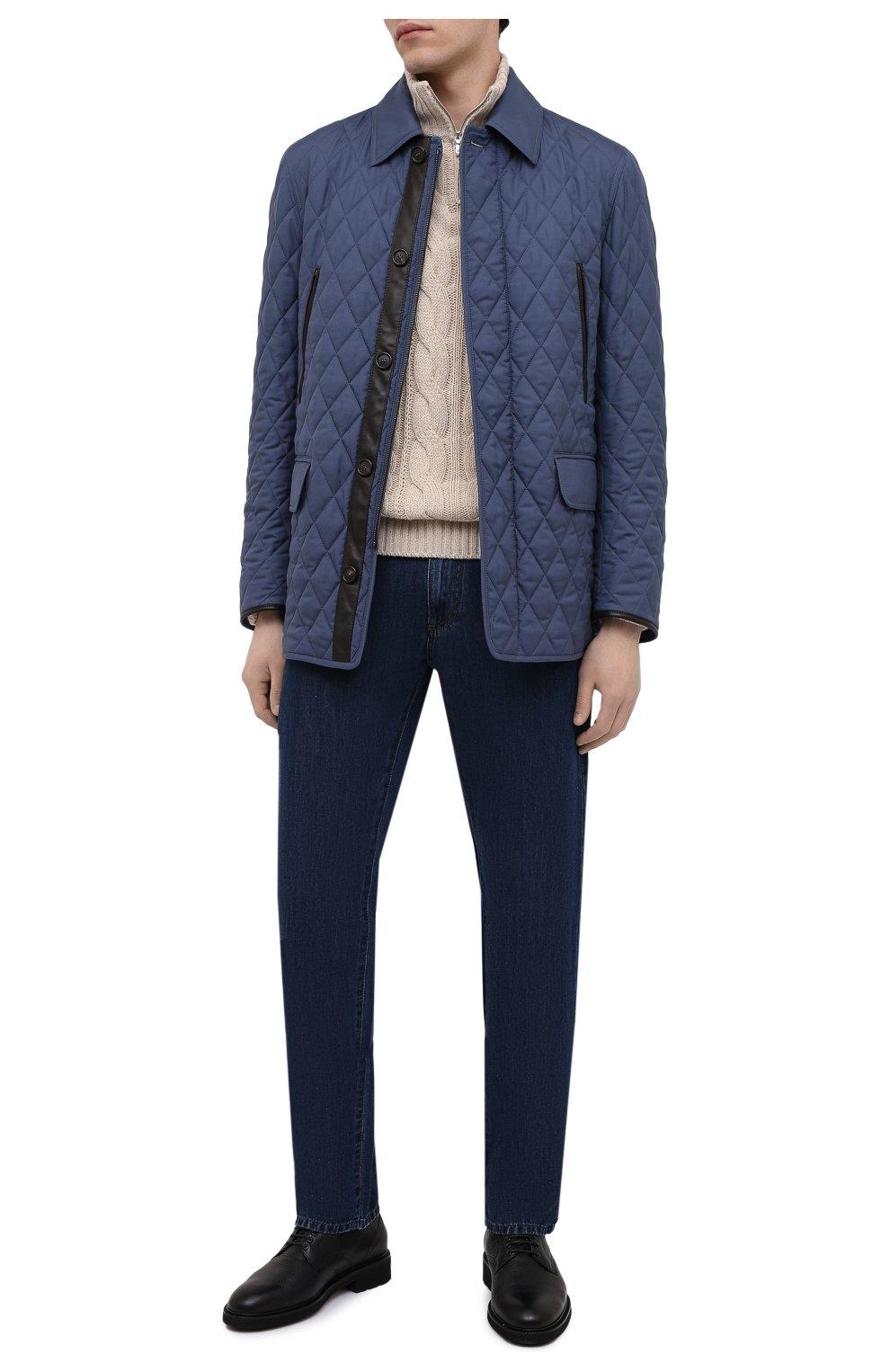 Мужская утепленная куртка BRIONI синего цвета, арт. SFN80L/P0410   Фото 2