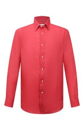 Мужская льняная рубашка BRIONI красного цвета, арт. SCAY0L/P9111   Фото 1 (Материал внешний: Лен; Рукава: Длинные; Длина (для топов): Стандартные; Случай: Повседневный; Воротник: Кент; Манжеты: На пуговицах; Принт: Однотонные; Стили: Кэжуэл)