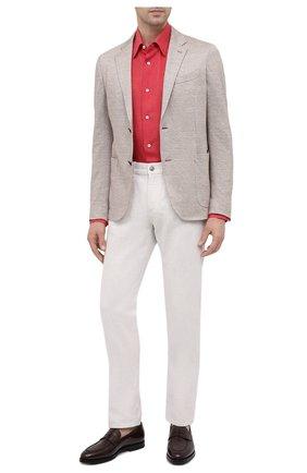 Мужская льняная рубашка BRIONI красного цвета, арт. SCAY0L/P9111   Фото 2 (Материал внешний: Лен; Рукава: Длинные; Длина (для топов): Стандартные; Случай: Повседневный; Воротник: Кент; Манжеты: На пуговицах; Принт: Однотонные; Стили: Кэжуэл)