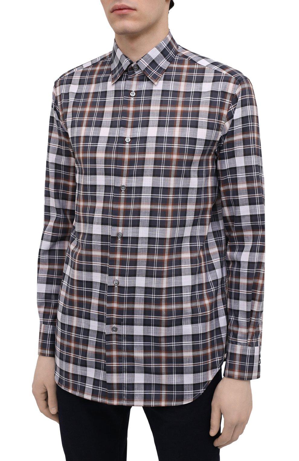 Мужская хлопковая рубашка BRIONI разноцветного цвета, арт. SCAY0L/P0003   Фото 3