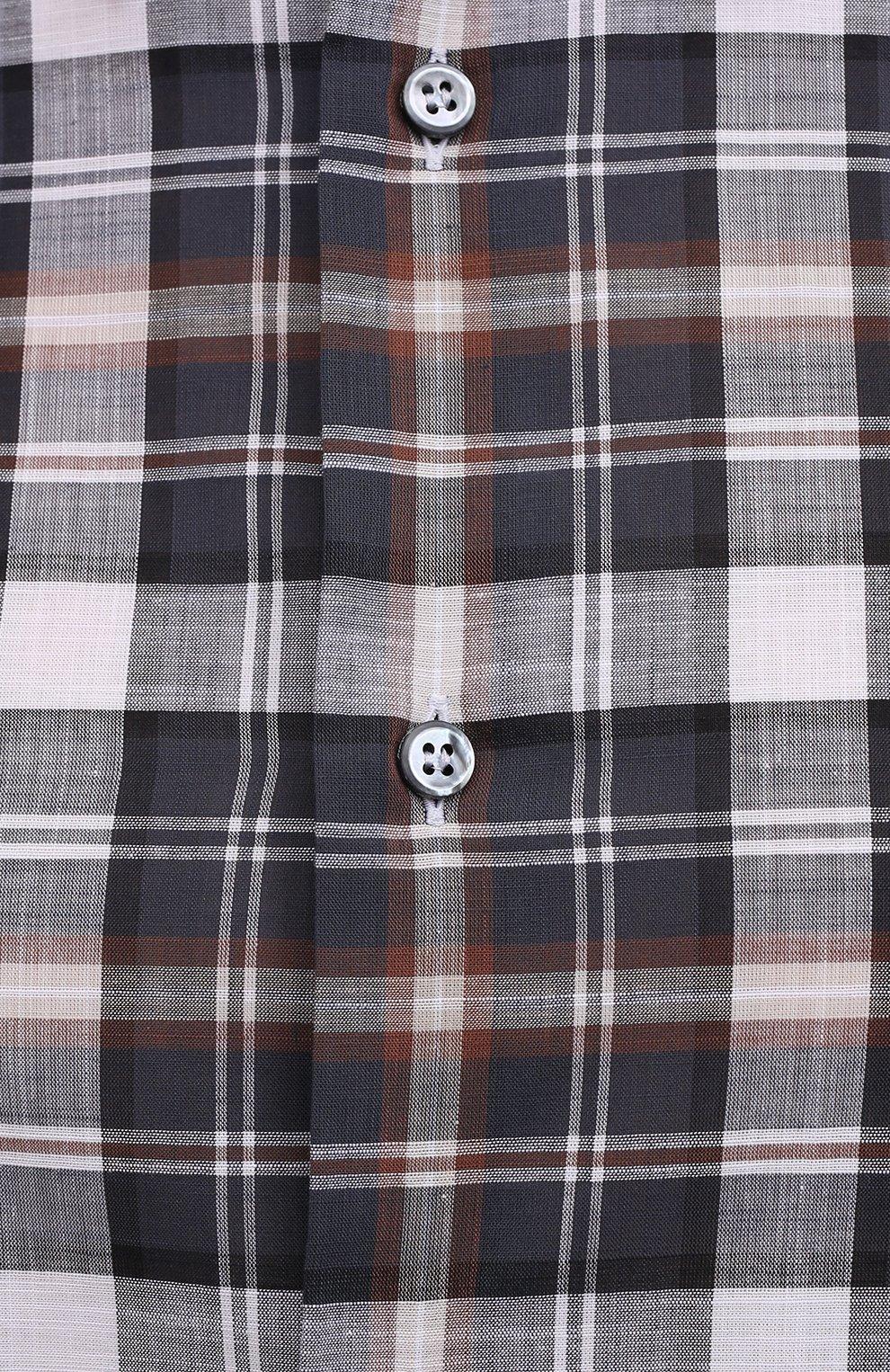 Мужская хлопковая рубашка BRIONI разноцветного цвета, арт. SCAY0L/P0003   Фото 5