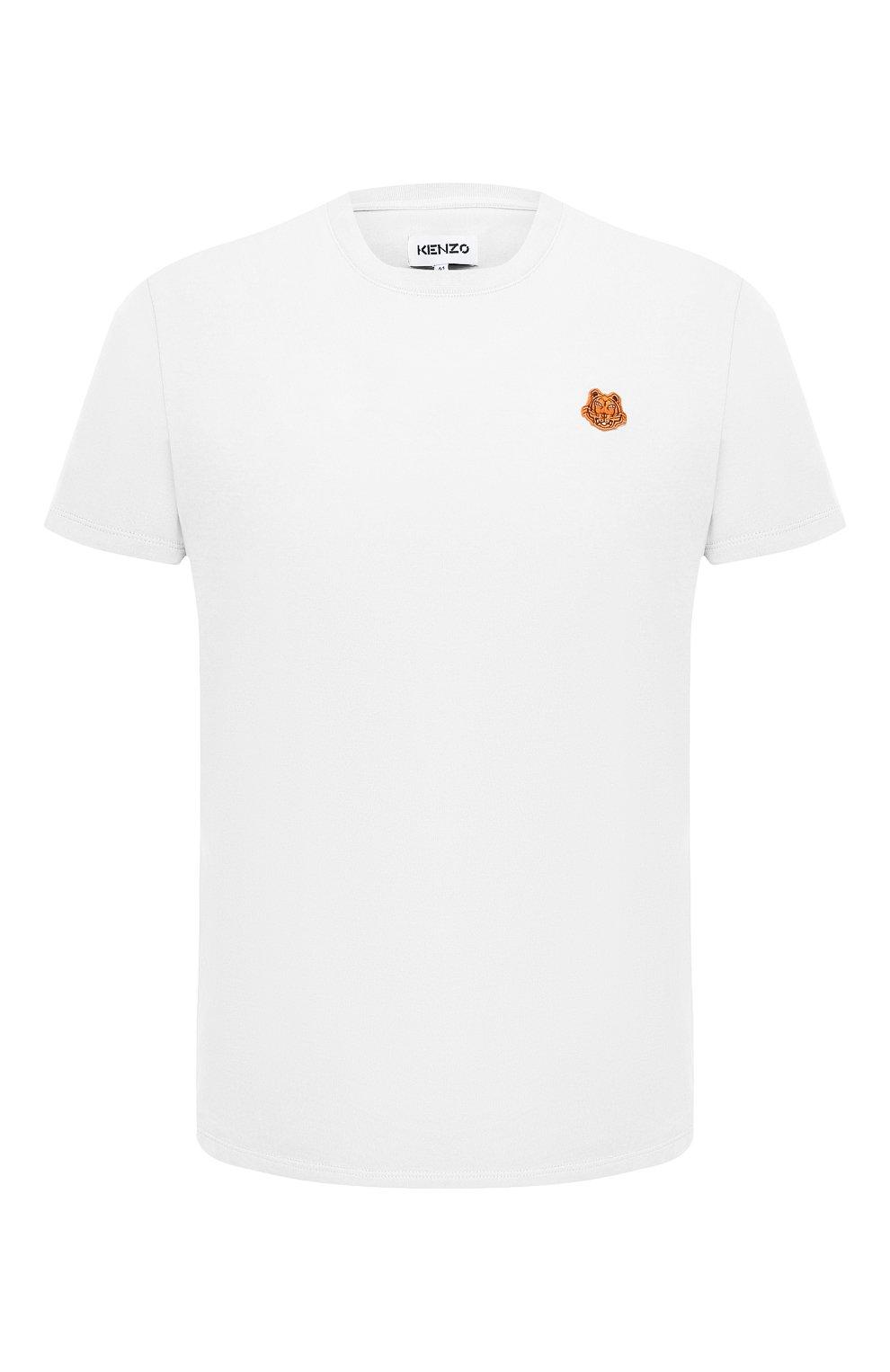 Мужская хлопковая футболка KENZO белого цвета, арт. FB55TS0034SA   Фото 1 (Принт: Без принта; Рукава: Короткие; Длина (для топов): Стандартные; Материал внешний: Хлопок; Стили: Кэжуэл)