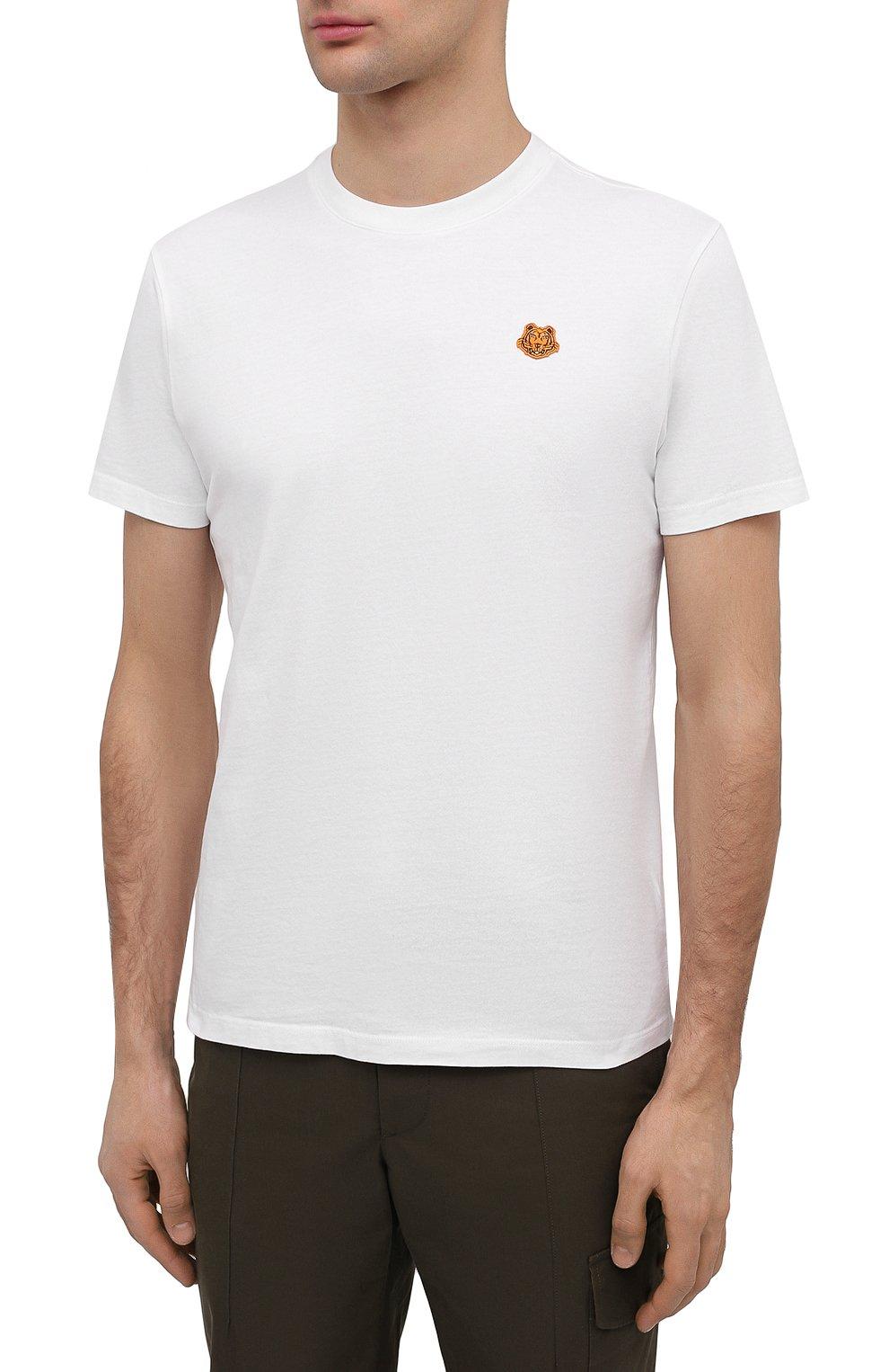 Мужская хлопковая футболка KENZO белого цвета, арт. FB55TS0034SA   Фото 3 (Принт: Без принта; Рукава: Короткие; Длина (для топов): Стандартные; Материал внешний: Хлопок; Стили: Кэжуэл)