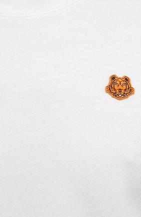 Мужская хлопковая футболка KENZO белого цвета, арт. FB55TS0034SA   Фото 5 (Принт: Без принта; Рукава: Короткие; Длина (для топов): Стандартные; Материал внешний: Хлопок; Стили: Кэжуэл)