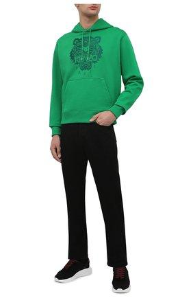 Мужской хлопковое худи KENZO зеленого цвета, арт. FB55SW3174XF | Фото 2