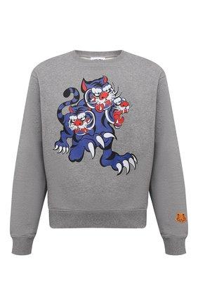 Мужской хлопковый свитшот kenzo x kansai yamamoto KENZO серого цвета, арт. FB55SW0134ML | Фото 1 (Длина (для топов): Стандартные; Рукава: Длинные; Мужское Кросс-КТ: свитшот-одежда; Материал внешний: Хлопок; Стили: Гранж; Принт: С принтом)