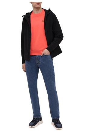 Мужской хлопковый свитшот KENZO оранжевого цвета, арт. FB55SW0034ML | Фото 2 (Материал внешний: Хлопок; Принт: Без принта; Мужское Кросс-КТ: свитшот-одежда; Рукава: Длинные; Длина (для топов): Стандартные; Стили: Кэжуэл)