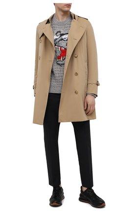 Мужской свитер kenzo x kansai yamamoto KENZO серого цвета, арт. FB55PU5423AE | Фото 2 (Материал внешний: Шерсть; Мужское Кросс-КТ: Свитер-одежда; Рукава: Длинные; Принт: С принтом; Длина (для топов): Стандартные; Стили: Гранж)