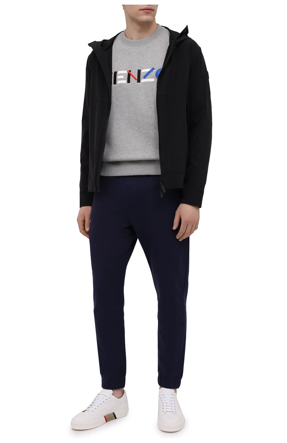 Мужские хлопковые джоггеры KENZO синего цвета, арт. FB55PA7114ML | Фото 2 (Мужское Кросс-КТ: Брюки-трикотаж; Длина (брюки, джинсы): Стандартные; Материал внешний: Хлопок; Силуэт М (брюки): Джоггеры)