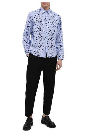 Мужская хлопковая рубашка KENZO синего цвета, арт. FB55CH4019LT | Фото 2