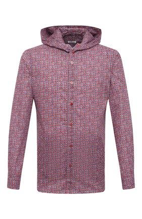 Мужская хлопковая рубашка KITON красного цвета, арт. UMCMARH0761102 | Фото 1 (Случай: Повседневный; Материал внешний: Хлопок; Длина (для топов): Стандартные; Рукава: Длинные; Стили: Кэжуэл; Воротник: С капюшоном; Рубашки М: Regular Fit; Манжеты: На кнопках; Принт: Клетка)
