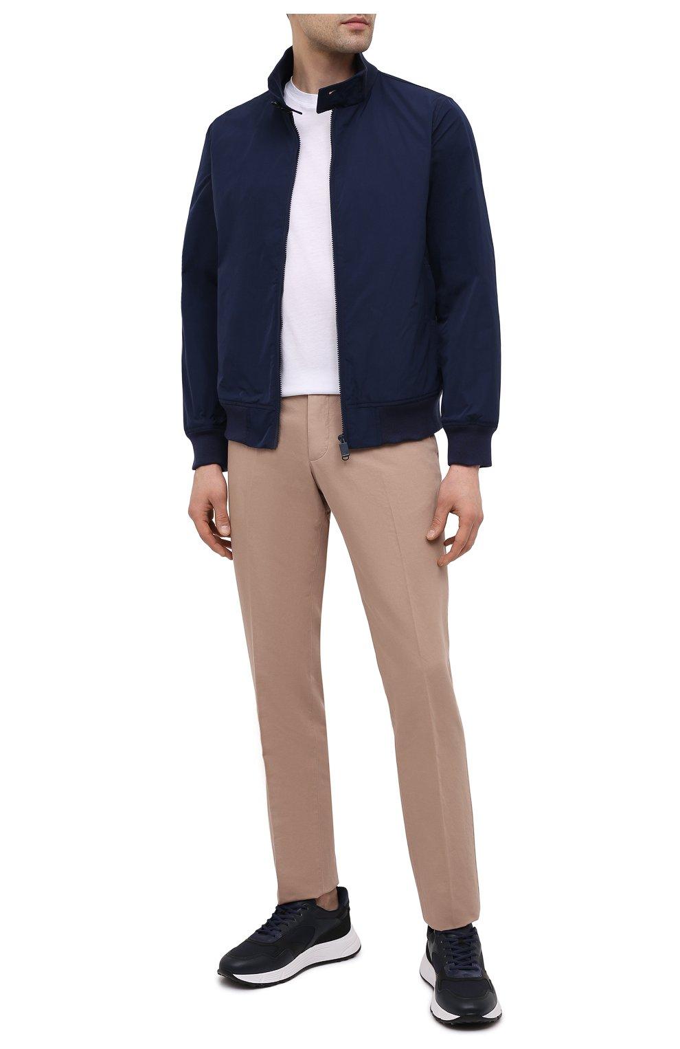 Мужской бомбер ASPESI темно-синего цвета, арт. S1 I I918 G703 | Фото 2 (Кросс-КТ: Куртка; Рукава: Длинные; Принт: Без принта; Материал внешний: Синтетический материал; Материал подклада: Синтетический материал; Длина (верхняя одежда): Короткие; Стили: Кэжуэл)