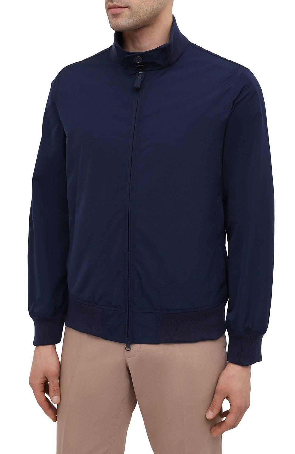Мужской бомбер ASPESI темно-синего цвета, арт. S1 I I918 G703 | Фото 3 (Кросс-КТ: Куртка; Рукава: Длинные; Принт: Без принта; Материал внешний: Синтетический материал; Материал подклада: Синтетический материал; Длина (верхняя одежда): Короткие; Стили: Кэжуэл)