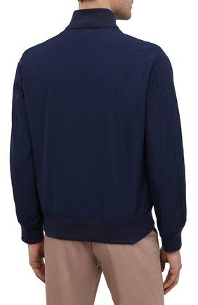 Мужской бомбер ASPESI темно-синего цвета, арт. S1 I I918 G703 | Фото 4 (Кросс-КТ: Куртка; Рукава: Длинные; Принт: Без принта; Материал внешний: Синтетический материал; Материал подклада: Синтетический материал; Длина (верхняя одежда): Короткие; Стили: Кэжуэл)