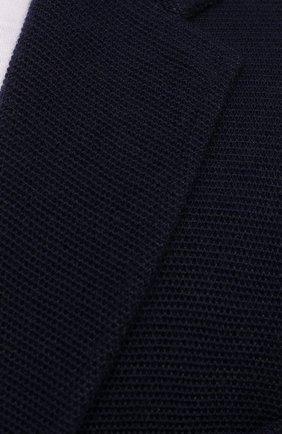 Мужской пиджак ASPESI темно-синего цвета, арт. S1 Q M376 5662 | Фото 5 (Материал внешний: Шерсть, Синтетический материал; Рукава: Длинные; Случай: Повседневный; Длина (для топов): Стандартные; 1-2-бортные: Однобортные; Пиджаки М: Прямой; Стили: Кэжуэл)