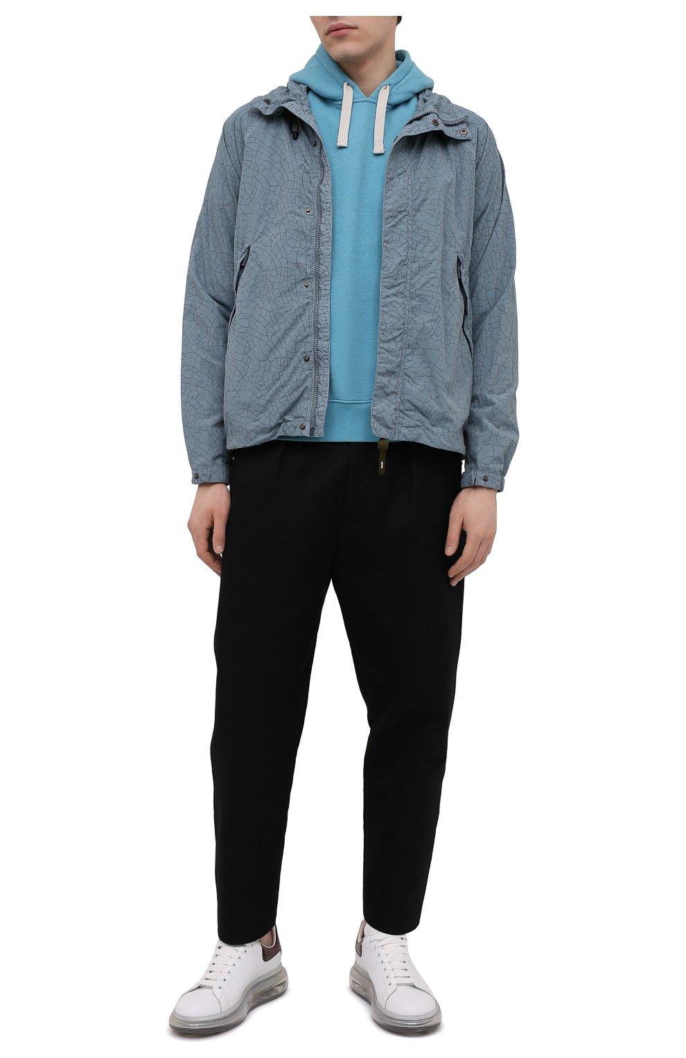 Мужской хлопковое худи ASPESI светло-голубого цвета, арт. S1 A AY39 G458 | Фото 2 (Рукава: Длинные; Принт: Без принта; Длина (для топов): Стандартные; Мужское Кросс-КТ: Худи-одежда; Материал внешний: Хлопок; Стили: Кэжуэл)