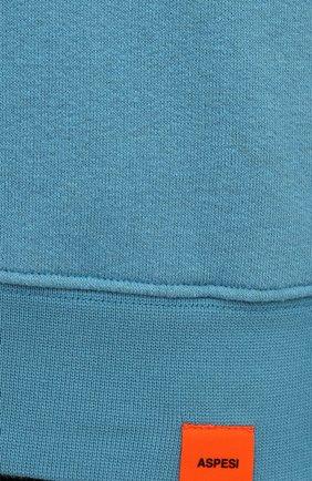 Мужской хлопковое худи ASPESI светло-голубого цвета, арт. S1 A AY39 G458 | Фото 5 (Рукава: Длинные; Принт: Без принта; Длина (для топов): Стандартные; Мужское Кросс-КТ: Худи-одежда; Материал внешний: Хлопок; Стили: Кэжуэл)
