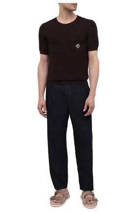 Мужские джинсы GIORGIO ARMANI темно-синего цвета, арт. 3KSP61/SD0TZ | Фото 2 (Длина (брюки, джинсы): Стандартные; Силуэт М (брюки): Широкие; Материал внешний: Хлопок; Кросс-КТ: Деним; Стили: Кэжуэл)