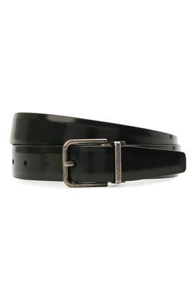 Мужской кожаный ремень DOLCE & GABBANA черного цвета, арт. BC4216/AI105 | Фото 1