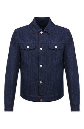 Мужская джинсовая куртка KITON синего цвета, арт. UW0948MV07T92 | Фото 1
