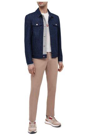Мужская джинсовая куртка KITON синего цвета, арт. UW0948MV07T92 | Фото 2