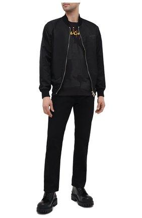 Мужская хлопковая футболка ICEBERG черного цвета, арт. 21E I1P0/F027/6301 | Фото 2 (Длина (для топов): Стандартные; Материал внешний: Хлопок; Стили: Гранж; Принт: С принтом; Рукава: Короткие)