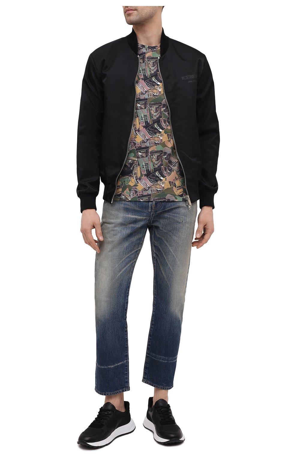Мужская хлопковая футболка ICEBERG разноцветного цвета, арт. 21E I1P0/F018/6301 | Фото 2 (Рукава: Короткие; Длина (для топов): Стандартные; Стили: Гранж; Принт: С принтом; Материал внешний: Хлопок)