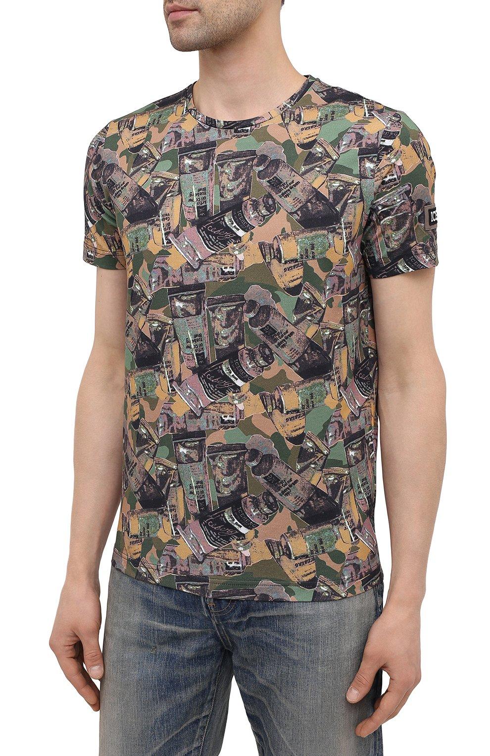 Мужская хлопковая футболка ICEBERG разноцветного цвета, арт. 21E I1P0/F018/6301 | Фото 3 (Рукава: Короткие; Длина (для топов): Стандартные; Стили: Гранж; Принт: С принтом; Материал внешний: Хлопок)