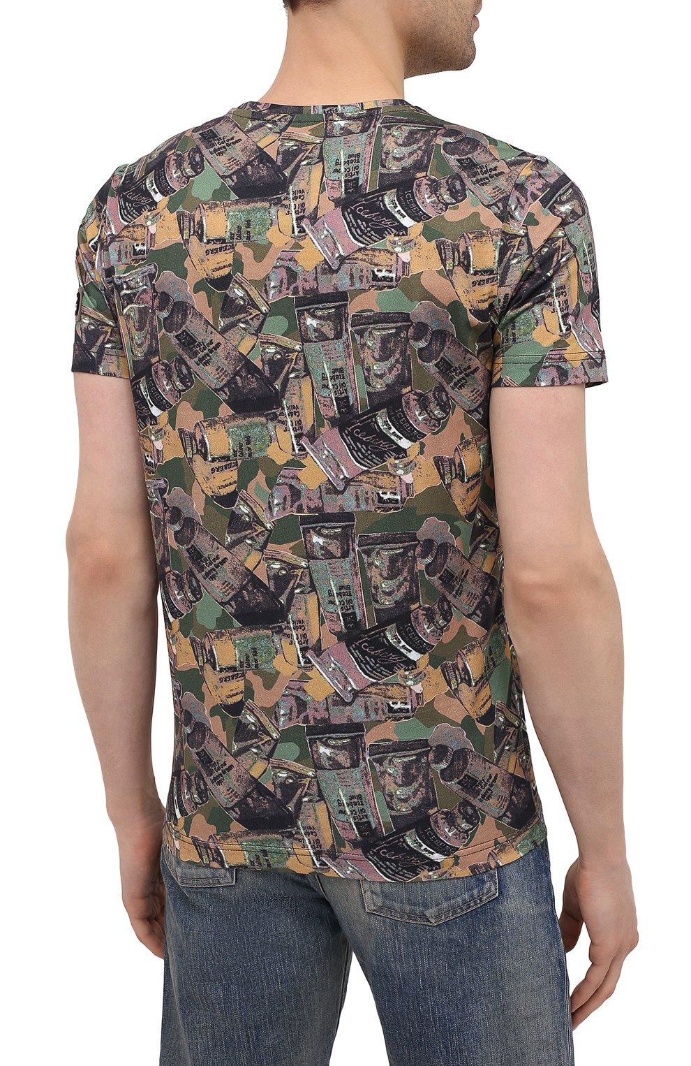 Мужская хлопковая футболка ICEBERG разноцветного цвета, арт. 21E I1P0/F018/6301 | Фото 4 (Рукава: Короткие; Длина (для топов): Стандартные; Стили: Гранж; Принт: С принтом; Материал внешний: Хлопок)