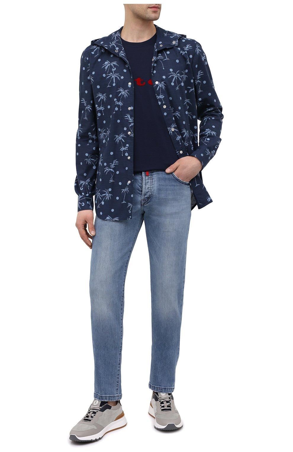 Мужская хлопковая рубашка KITON темно-синего цвета, арт. UMCMARH0761205 | Фото 2