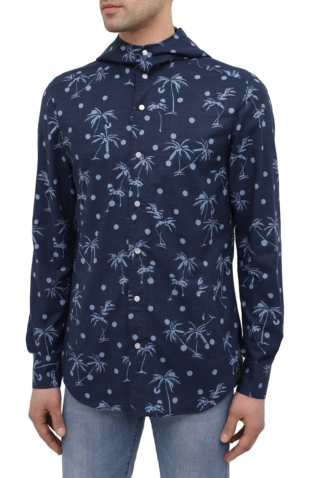 Мужская хлопковая рубашка KITON темно-синего цвета, арт. UMCMARH0761205 | Фото 3