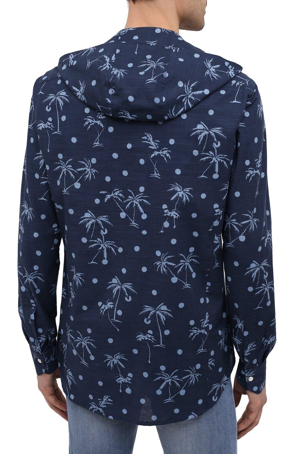 Мужская хлопковая рубашка KITON темно-синего цвета, арт. UMCMARH0761205 | Фото 4