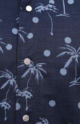 Мужская хлопковая рубашка KITON темно-синего цвета, арт. UMCMARH0761205 | Фото 5