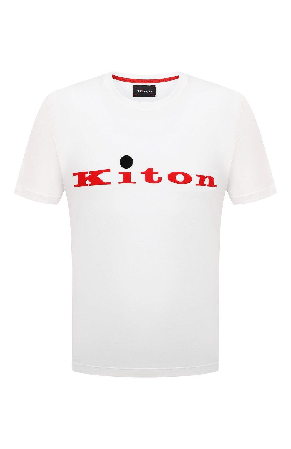 Мужская хлопковая футболка KITON белого цвета, арт. UK1164   Фото 1